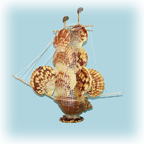 Парусник с парусами из пектена макаренсиса (Крым)