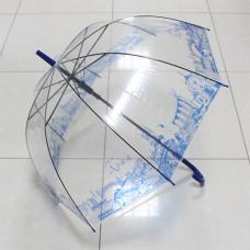 UT1 Зонт-трость прозр.купольный Крым синий (дуга 60см, диа...