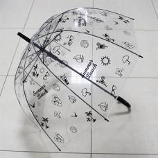 UT5 Зонт-трость прозр.купольный Летний черн (дуга 60см, ди...