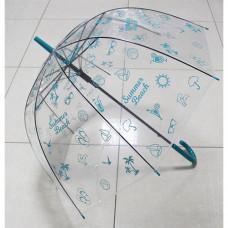 UT6 Зонт-трость прозр.купольный Летний бирюз (дуга 60см, д...