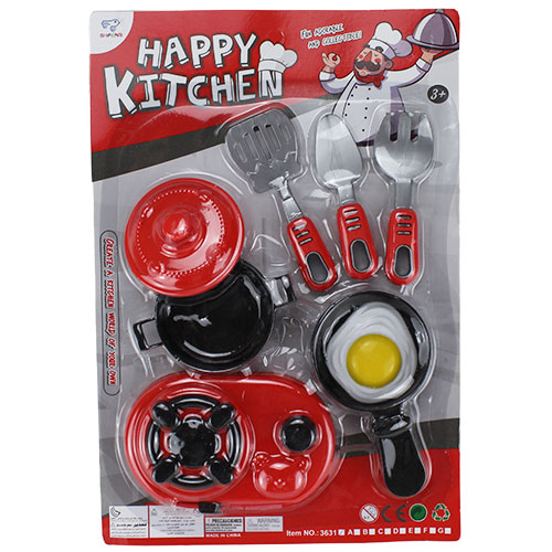 B1699626 Игрушка Набор посуды на блист красно черный в кор. 240 шт.