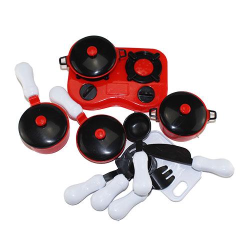 B1705562 Игрушка Набор посуды в пак красно черный в кор. 1...