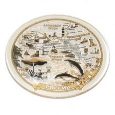 10327 Россия,Крым,Чёрное море,тарелка стекло золото