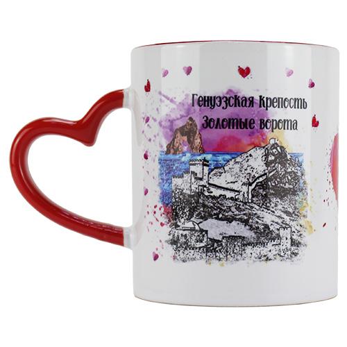SUB-1011 Крым красная кружка из керамики с ручкой в виде с...