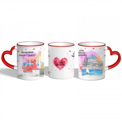 SUB-1013 Евпатория  красная кружка из керамики с ручкой в ...