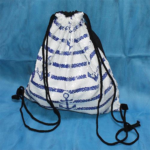 94-03-003 Сумка-мешок с пайетками в синюю полосу