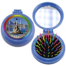 HX-BLUE-100 Расческа Севастополь складная с зеркалом, голу...